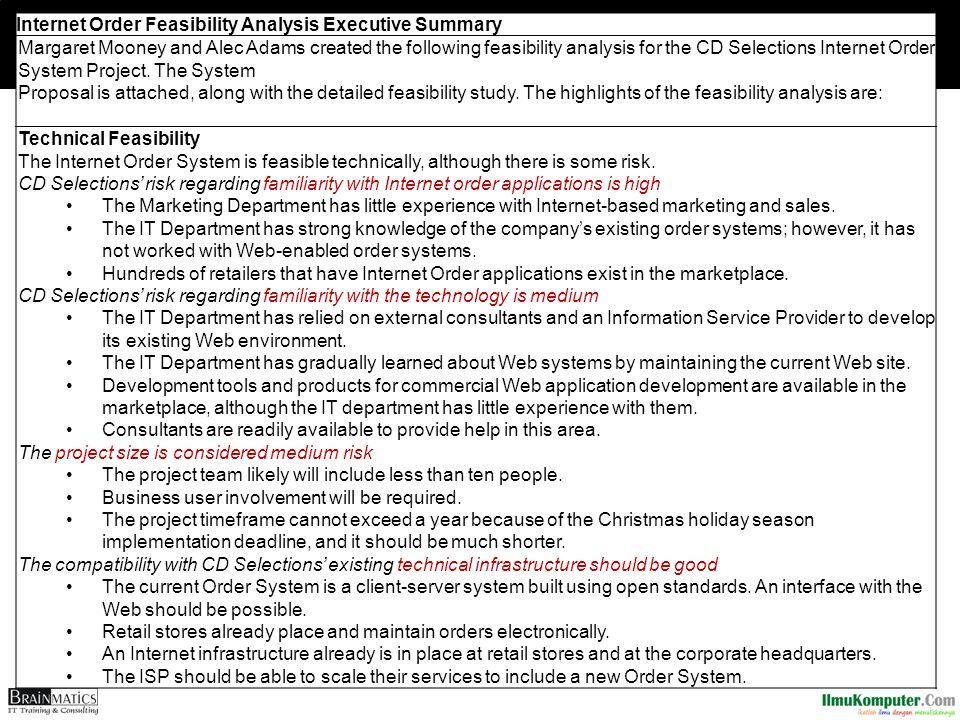 Internet Order Feasibility Analysis Executive Summary