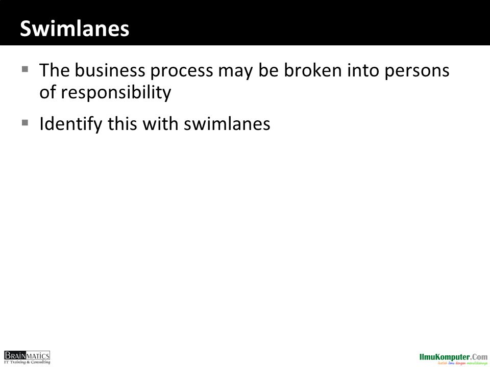 Swimlanes The business process may be broken into persons of responsibility.