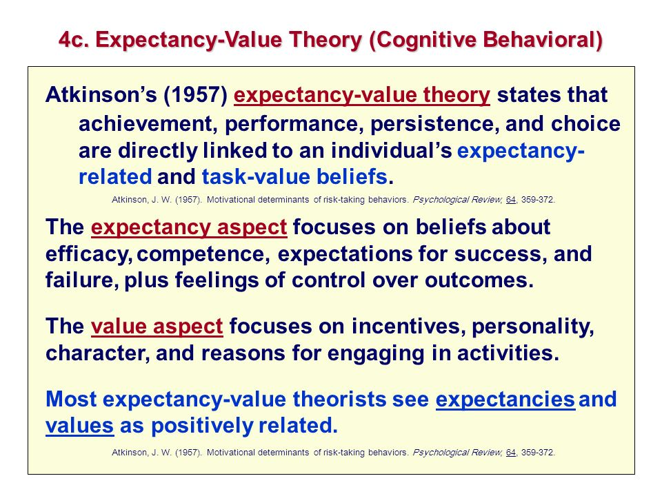 4c. Expectancy-Value Theory (Cognitive Behavioral)