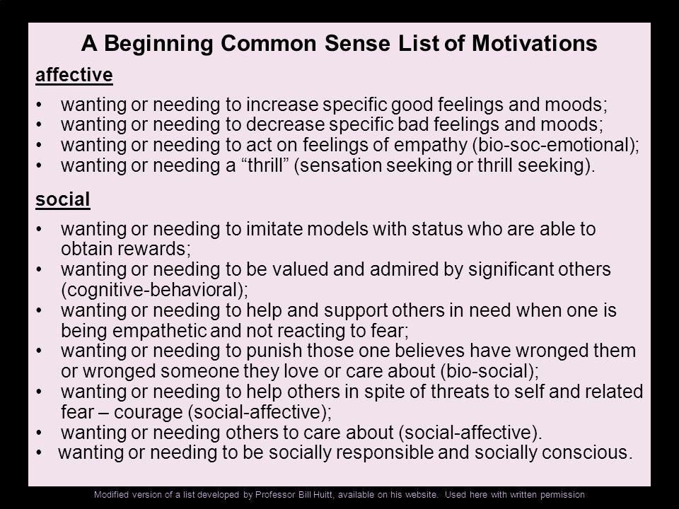 A Beginning Common Sense List of Motivations