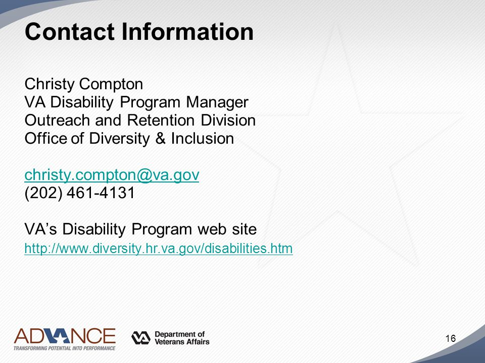 Contact Information Christy Compton. VA Disability Program Manager. Outreach and Retention Division.