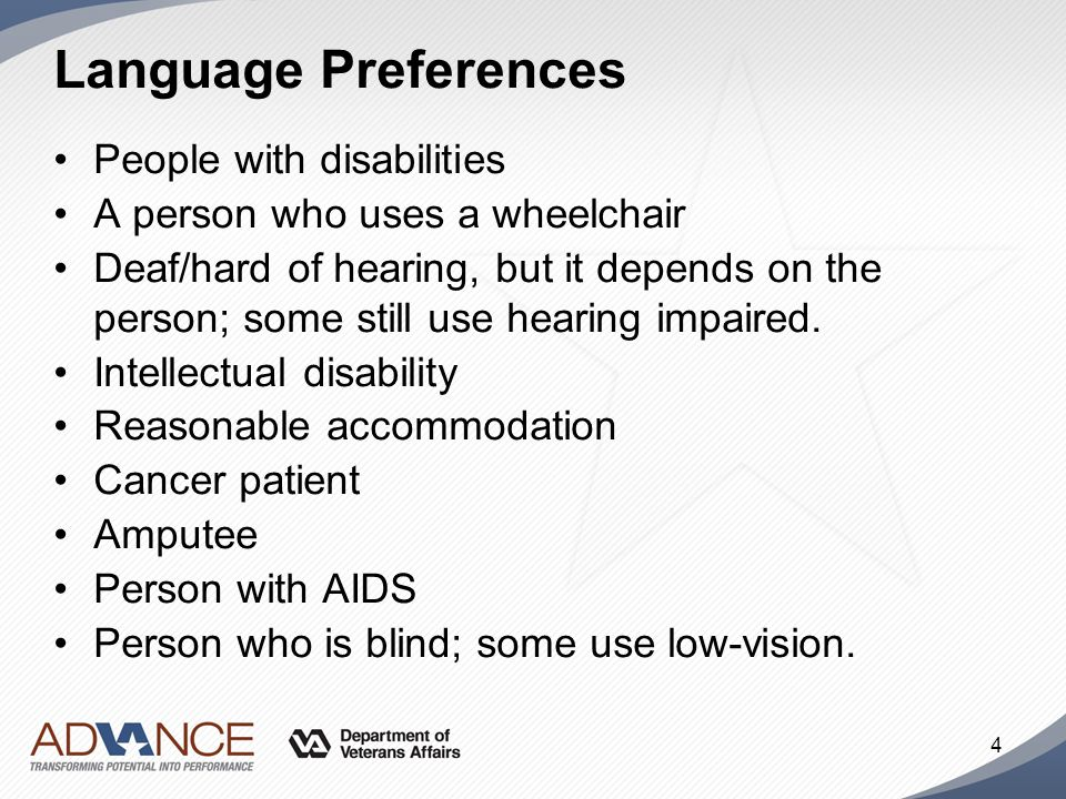 Language Preferences People with disabilities
