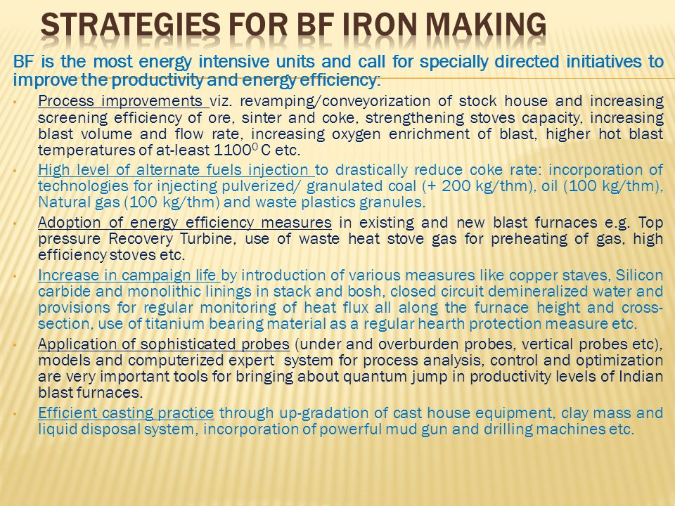 Strategies for BF Iron making