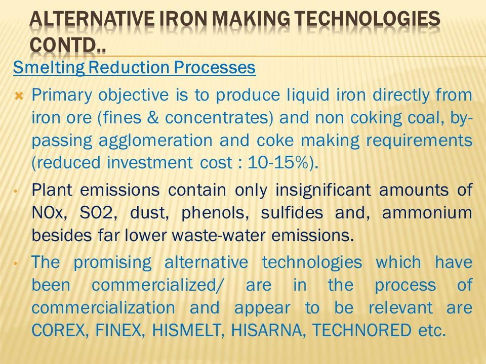 Alternative Iron Making Technologies Contd..