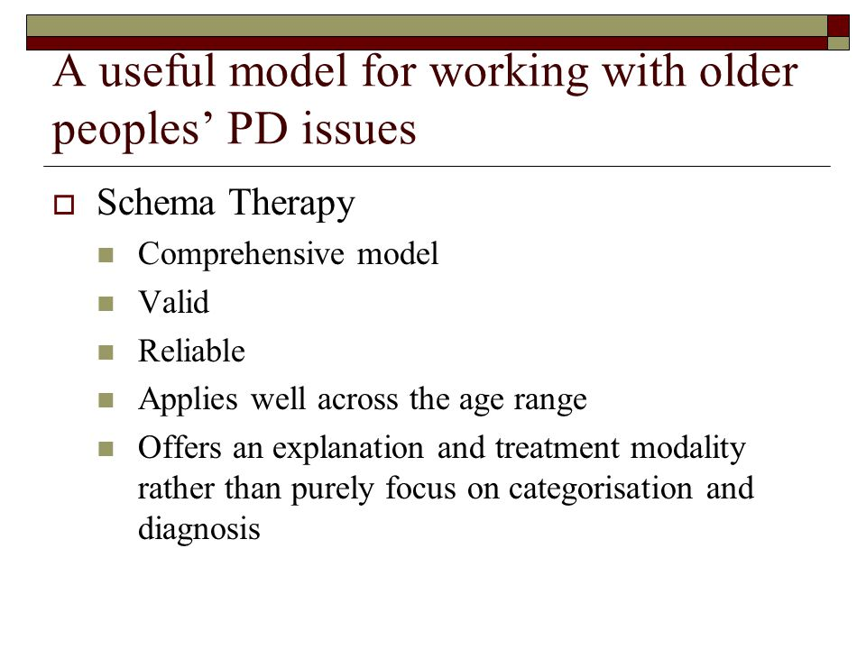 A useful model for working with older peoples' PD issues