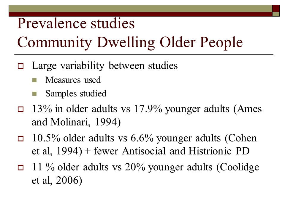 Prevalence studies Community Dwelling Older People