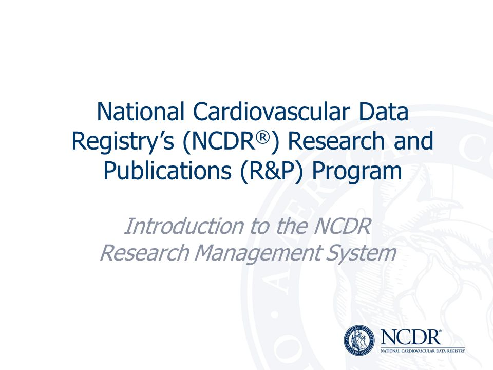 Introduction to the NCDR Research Management System