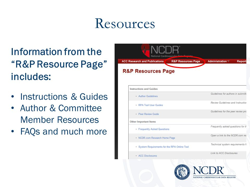 Resources Information from the R&P Resource Page includes: