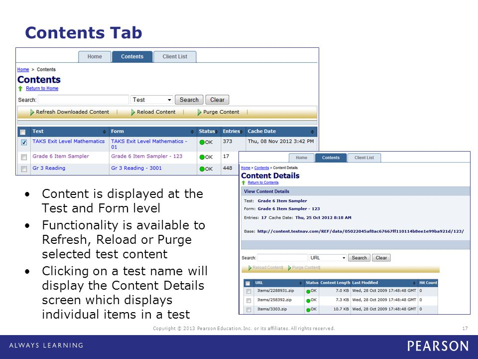 Contents Tab Content is displayed at the Test and Form level