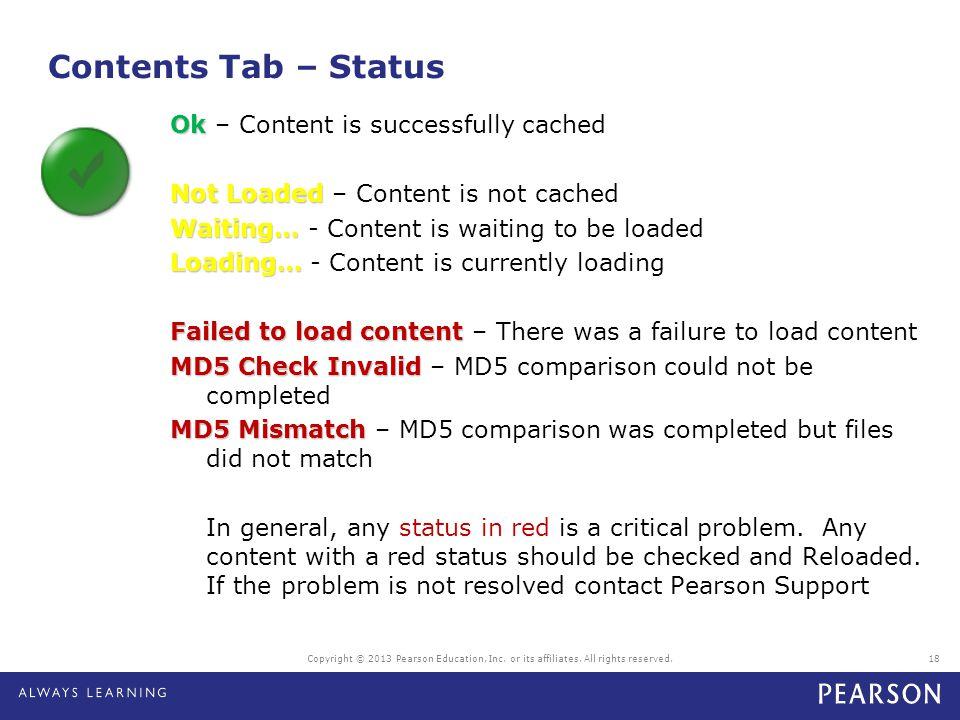 Contents Tab – Status
