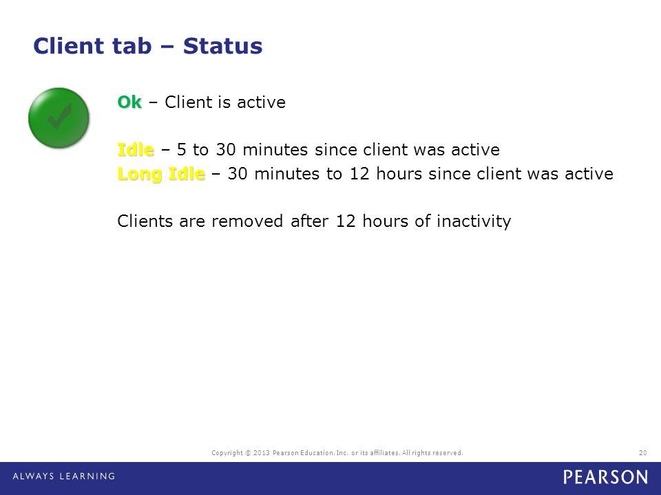 Client tab – Status
