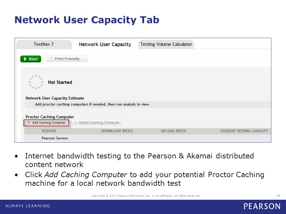 Network User Capacity Tab