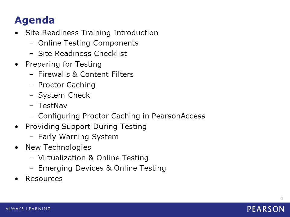 Agenda Site Readiness Training Introduction Online Testing Components