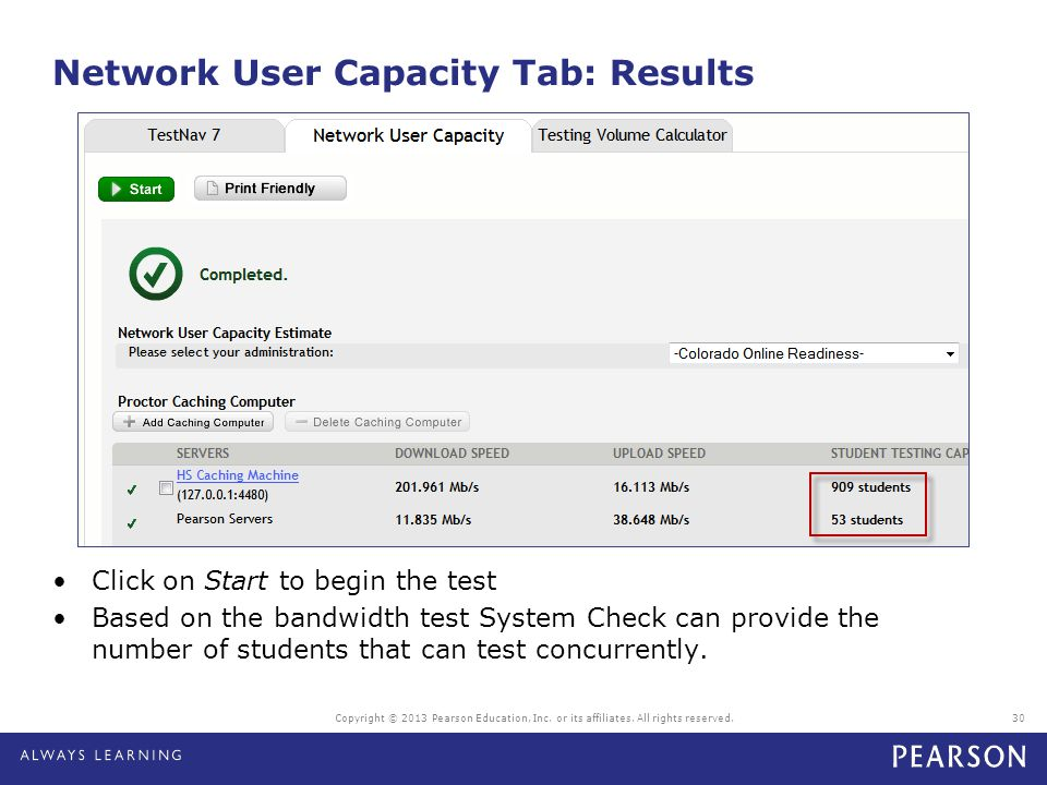 Network User Capacity Tab: Results