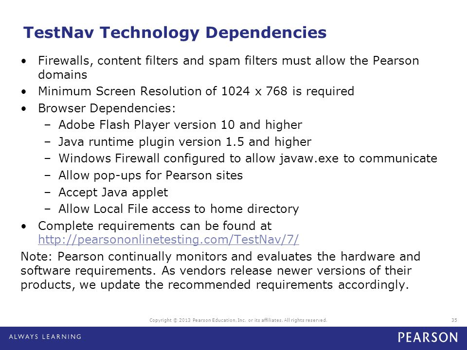 TestNav Technology Dependencies