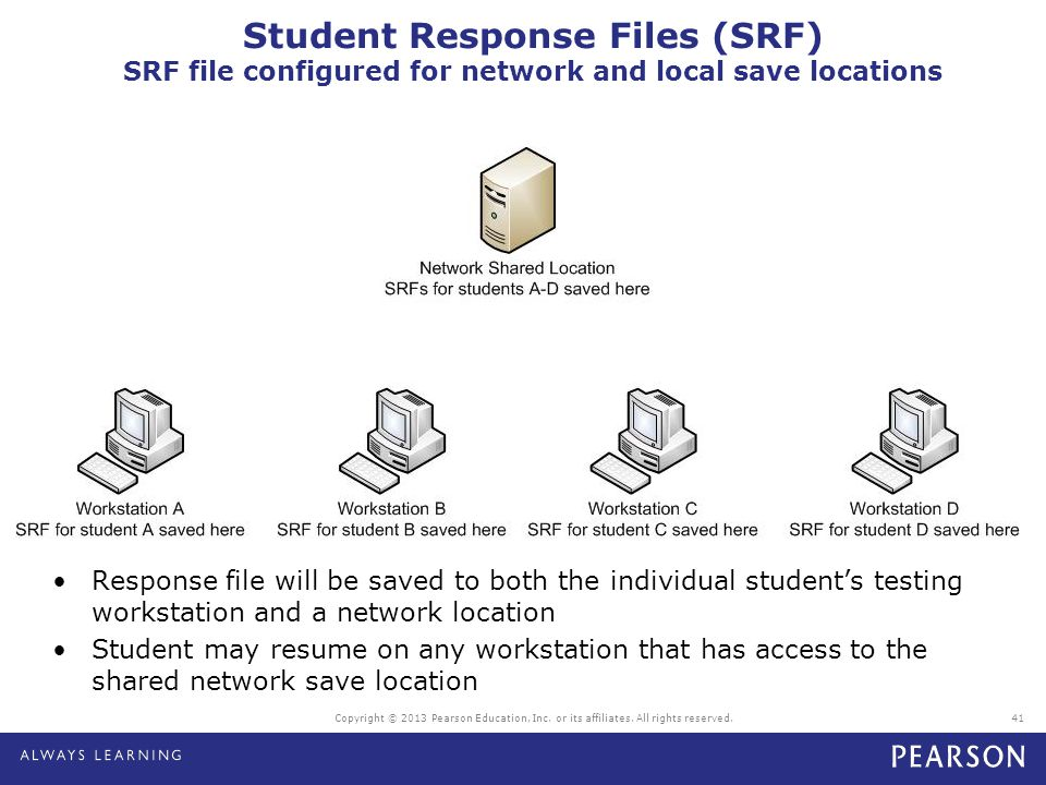 Student Response Files (SRF) SRF file configured for network and local save locations
