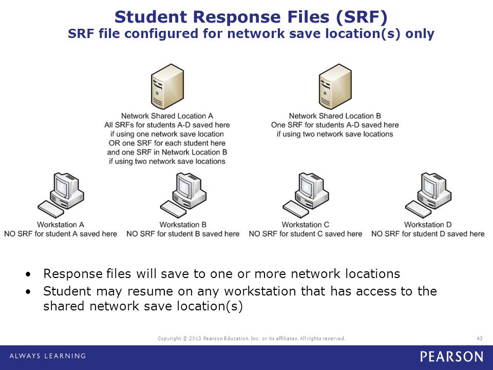 Student Response Files (SRF) SRF file configured for network save location(s) only