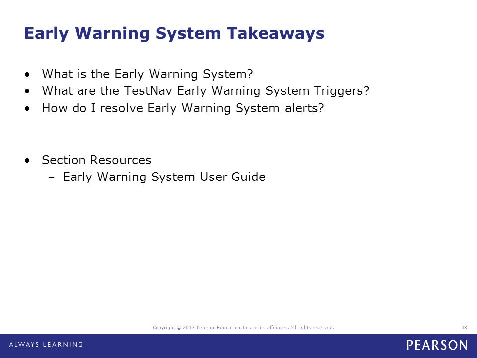 Early Warning System Takeaways