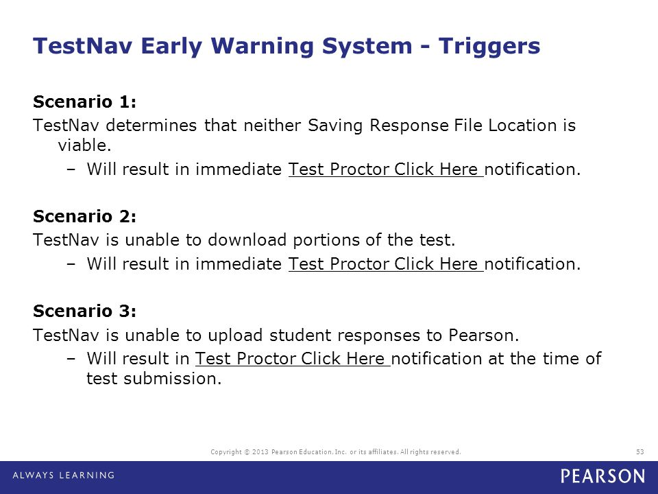 TestNav Early Warning System - Triggers