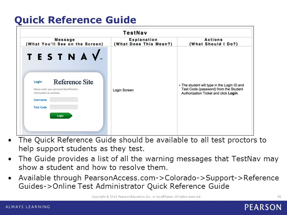 Quick Reference Guide The Quick Reference Guide should be available to all test proctors to help support students as they test.