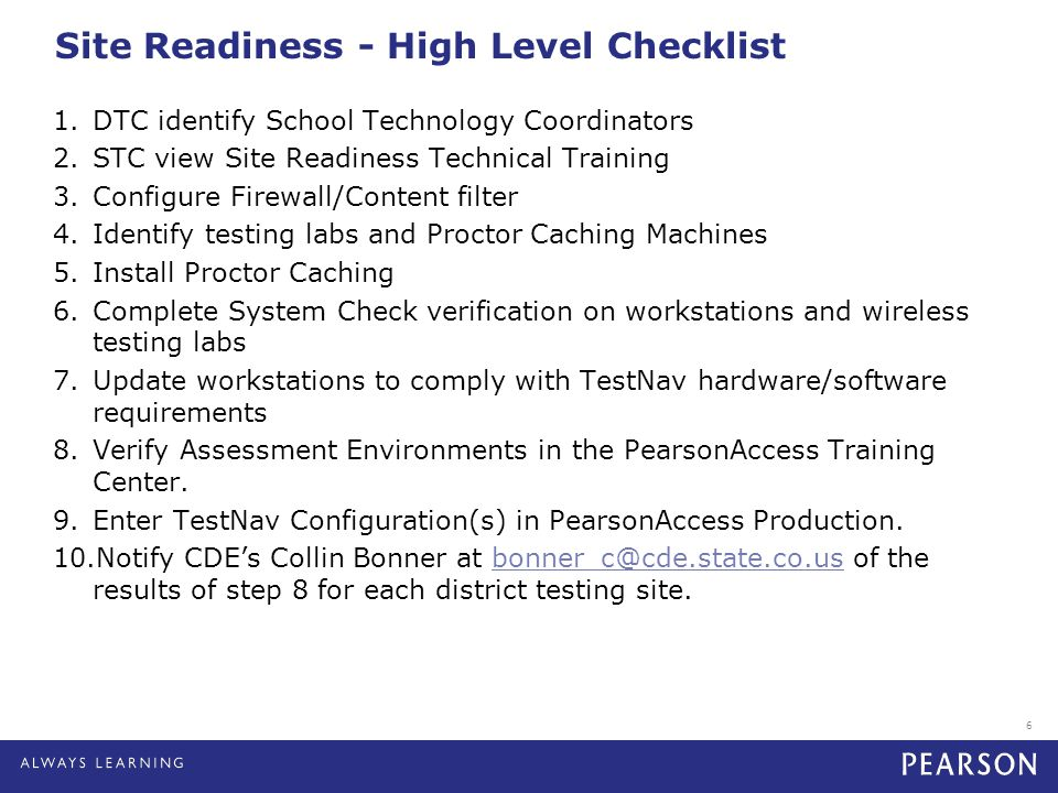 Site Readiness - High Level Checklist