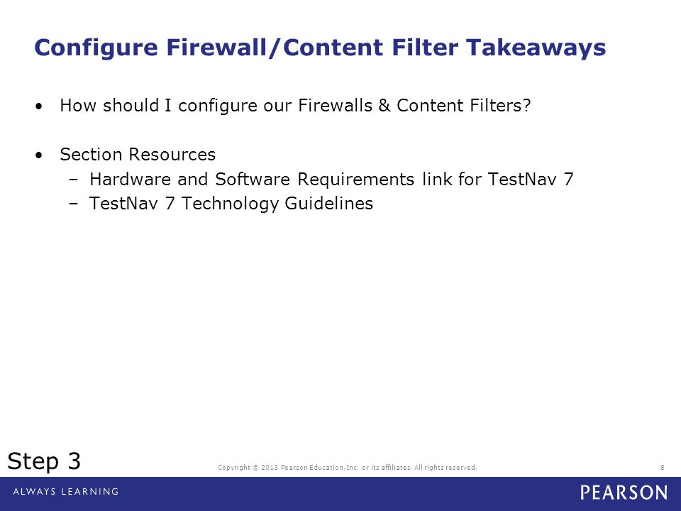 Configure Firewall/Content Filter Takeaways