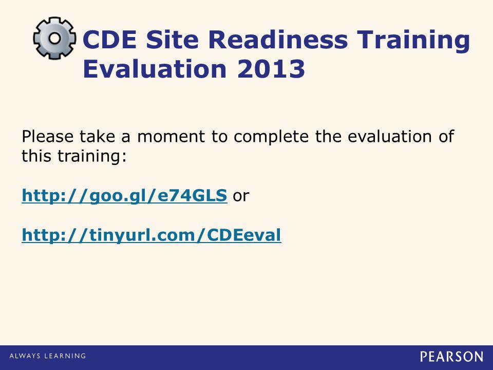 CDE Site Readiness Training Evaluation 2013