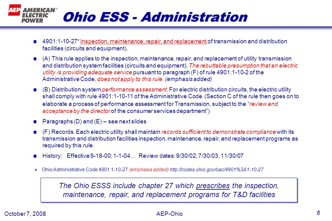 Ohio ESS - Administration
