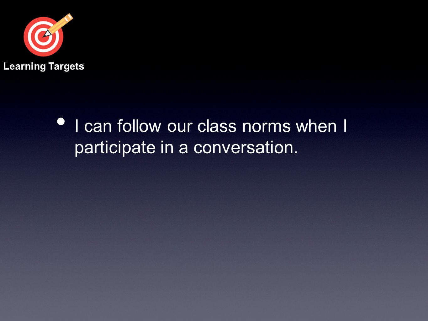 I can follow our class norms when I participate in a conversation.