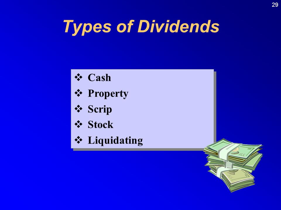 Types of Dividends Cash Property Scrip Stock Liquidating
