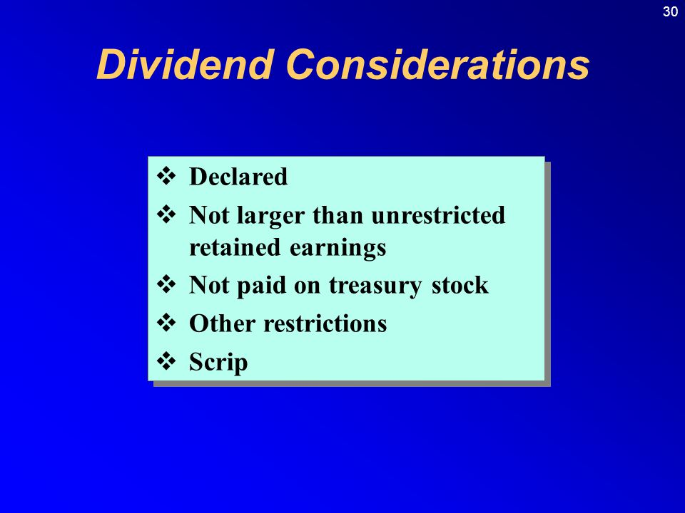 Dividend Considerations