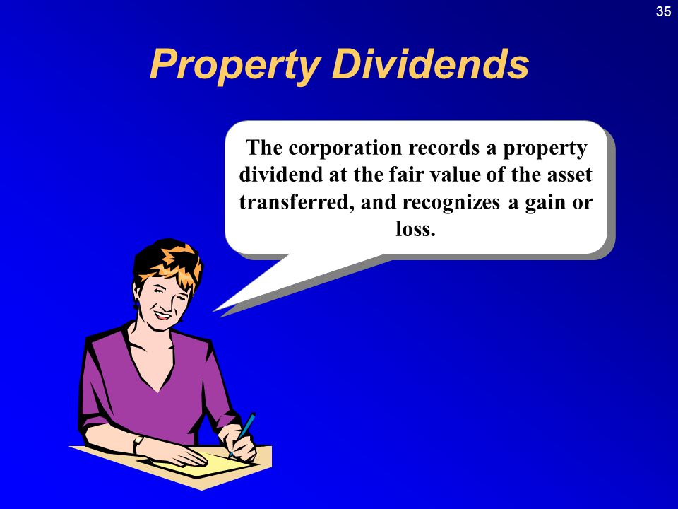 Property Dividends The corporation records a property dividend at the fair value of the asset transferred, and recognizes a gain or loss.