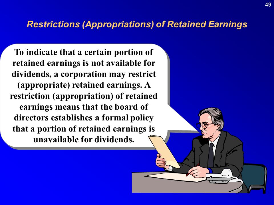 Restrictions (Appropriations) of Retained Earnings