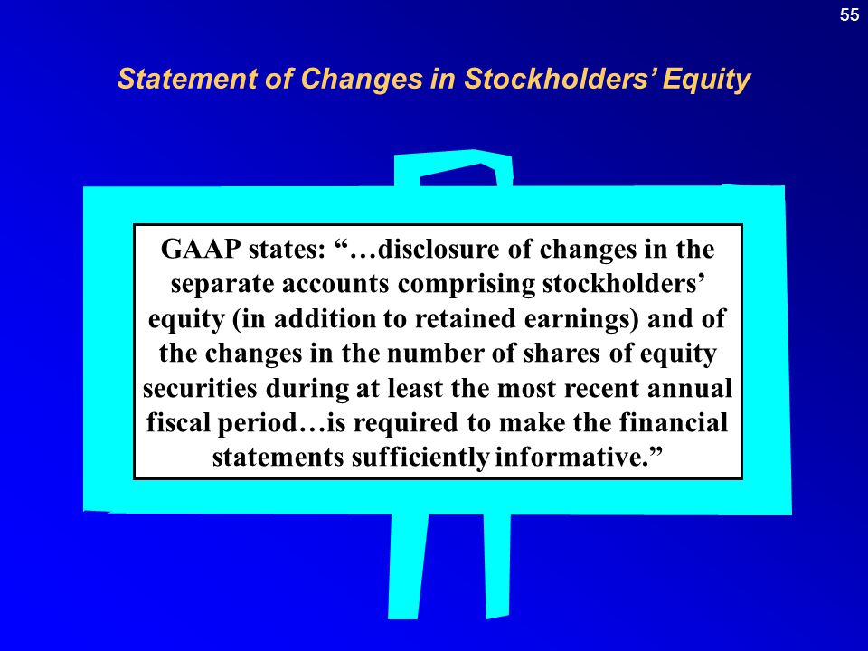 Statement of Changes in Stockholders' Equity