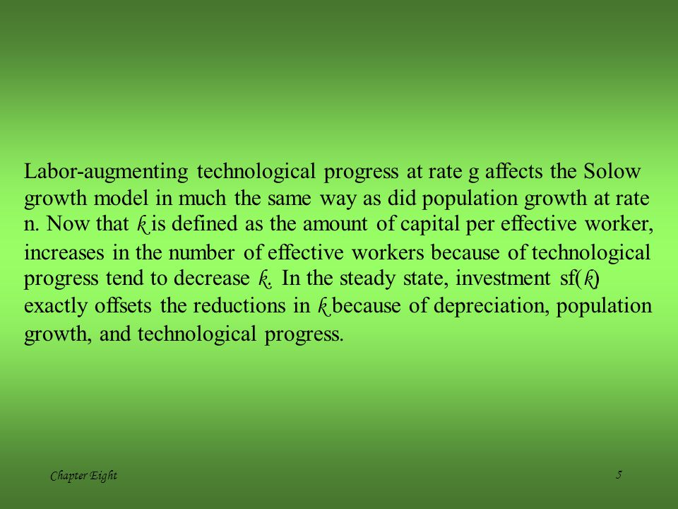 Labor-augmenting technological progress at rate g affects the Solow