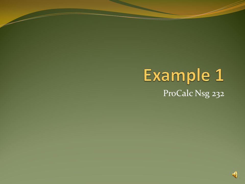 Example 1 ProCalc Nsg 232.
