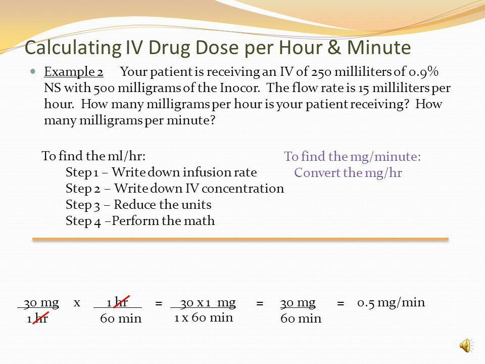 Calculating IV Drug Dose per Hour & Minute