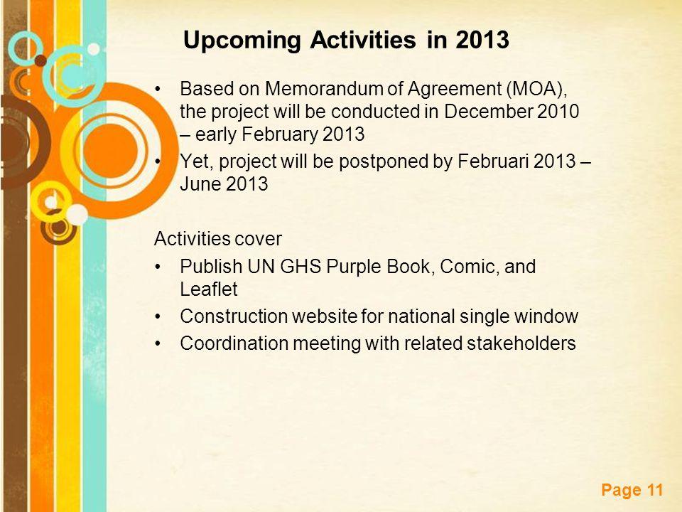 Upcoming Activities in 2013