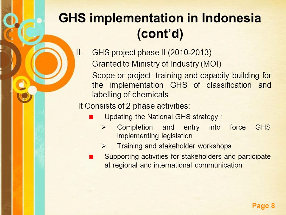 GHS implementation in Indonesia (cont'd)