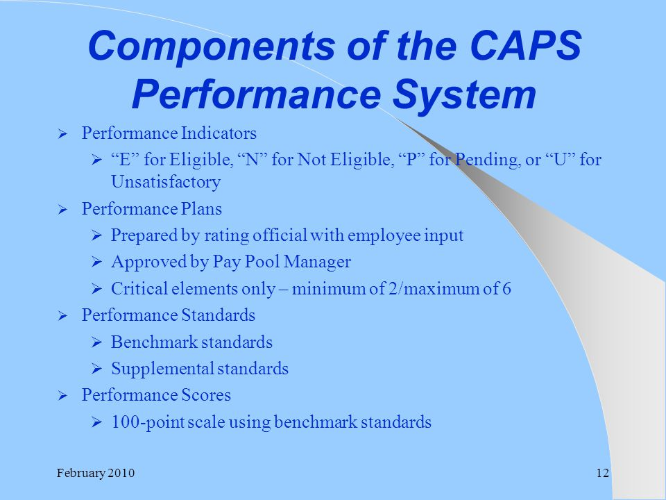 Components of the CAPS Performance System