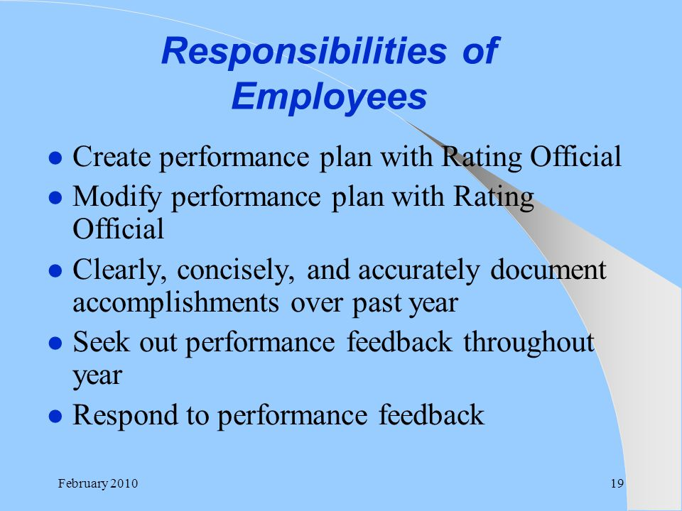 Responsibilities of Employees