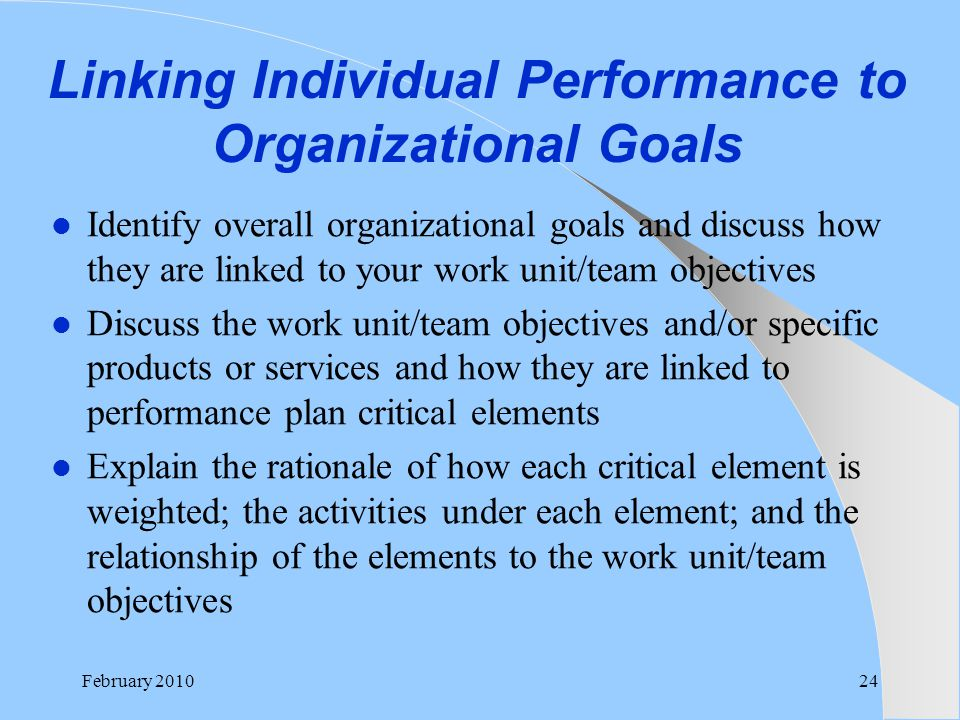 Linking Individual Performance to Organizational Goals