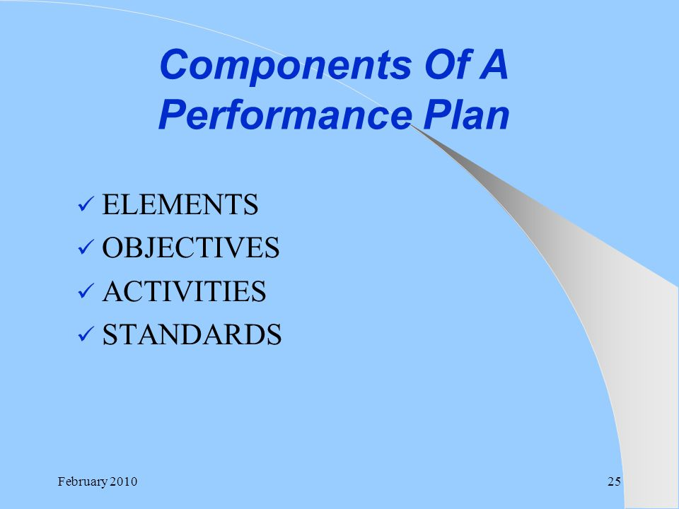 Components Of A Performance Plan