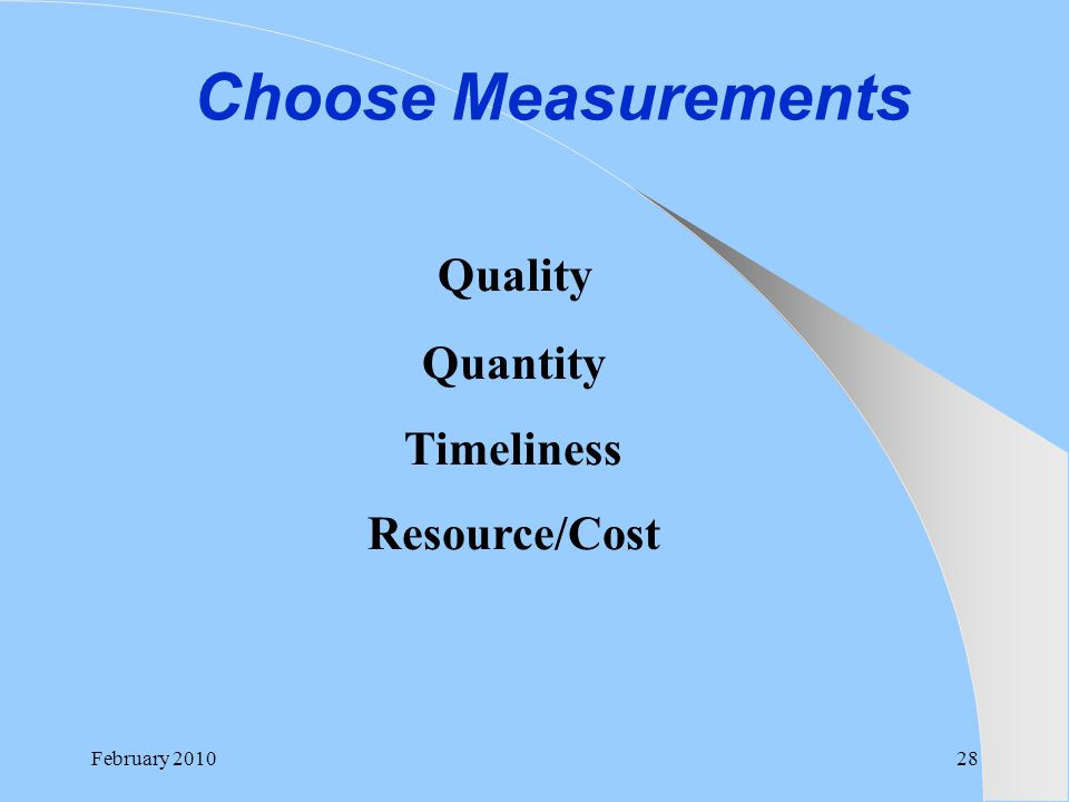 Choose Measurements Quality Quantity Timeliness Resource/Cost