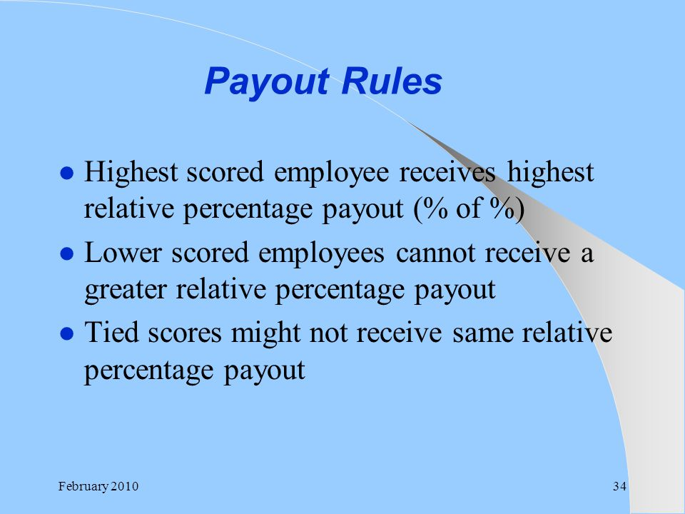 Payout Rules Highest scored employee receives highest relative percentage payout (% of %)