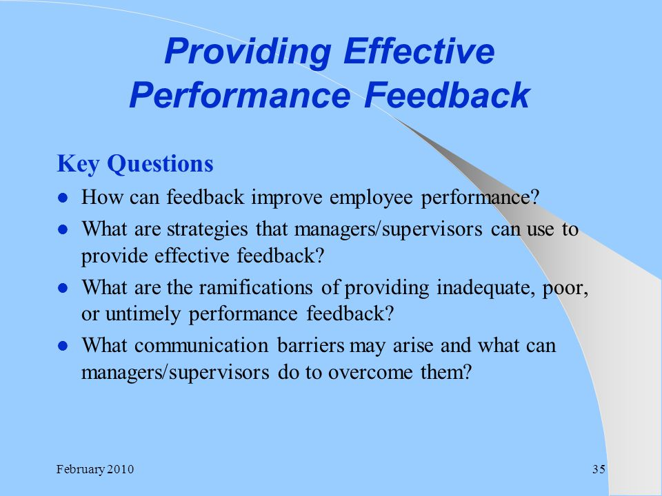 Providing Effective Performance Feedback
