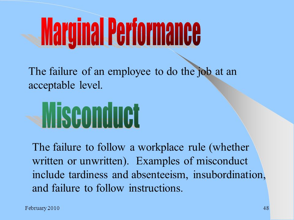 Marginal Performance Misconduct