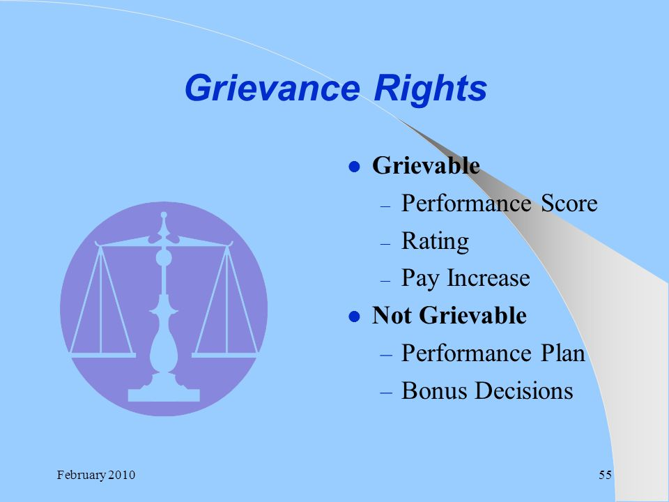Grievance Rights Grievable Performance Score Rating Pay Increase