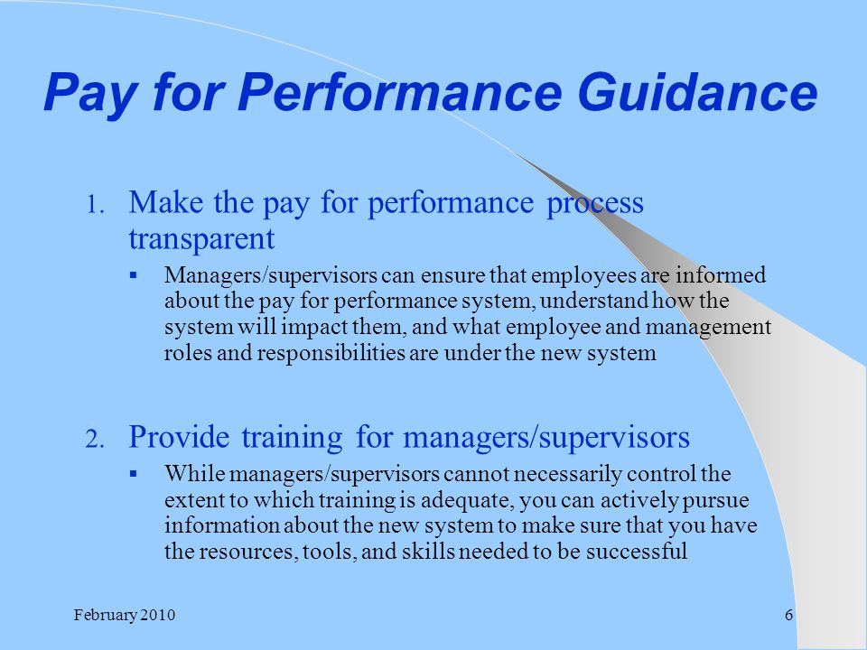 Pay for Performance Guidance