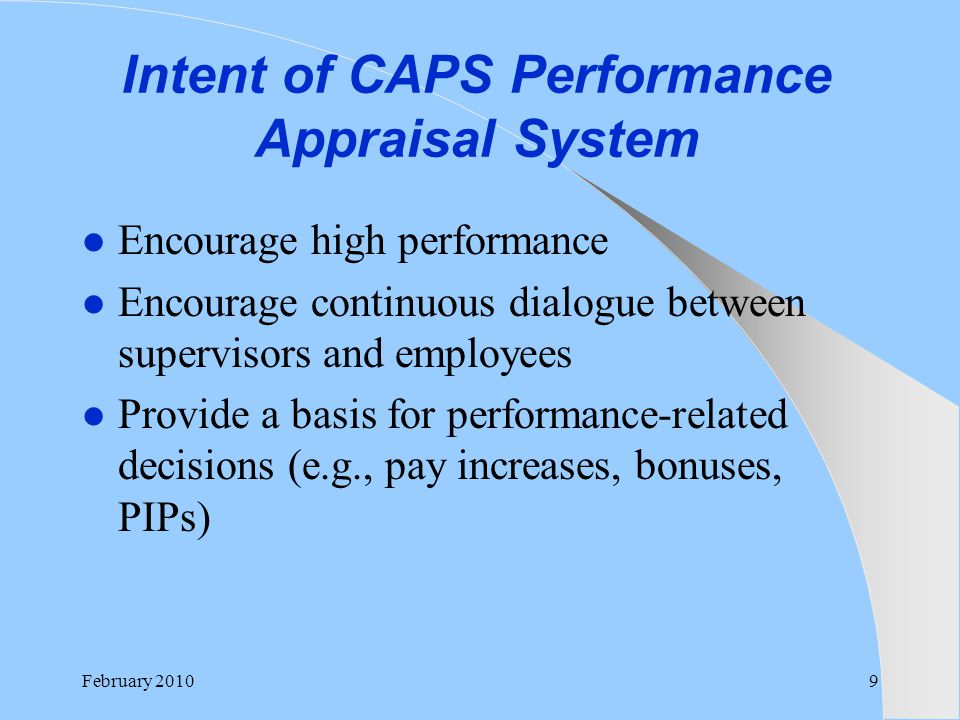 Intent of CAPS Performance Appraisal System
